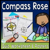 Compass Rose Worksheet, Quiz (Test) & Posters: Cardinal Intermediate Directions