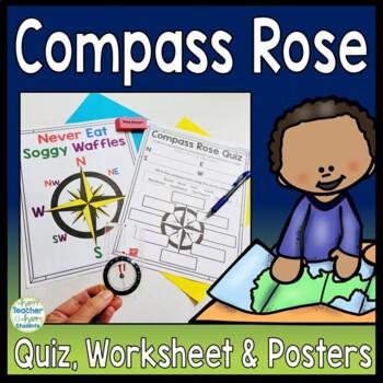 Compass Rose Worksheet, Quiz (Test) & Posters: Cardinal Intermediate Directions