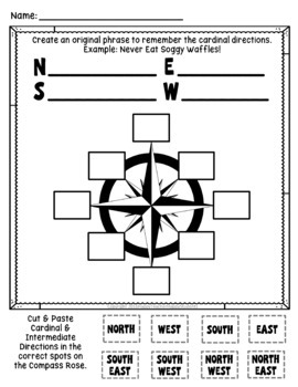 Compass Rose Worksheet Quiz Test Posters Cardinal Intermediate Directions