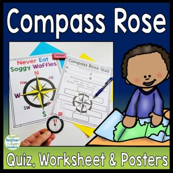 Compass Rose Worksheet, Quiz & Posters - Cardinal & Interm
