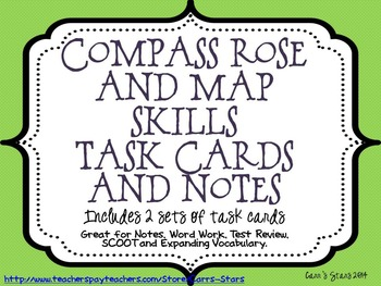 Compass Rose and Map Skills Notes and Task Cards