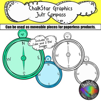 Compasses July Clip Art –Chalkstar Graphics