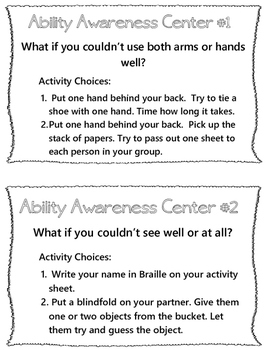 Compassion- Ability Awareness Lesson Plan and Center Cards