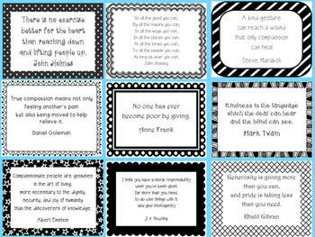 """Compassion and Generosity """"Thought for the Day"""" Character Education Posters"""