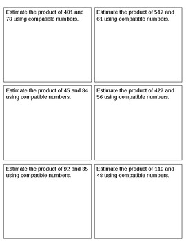 Compatible Numbers Estimation Student Worksheet