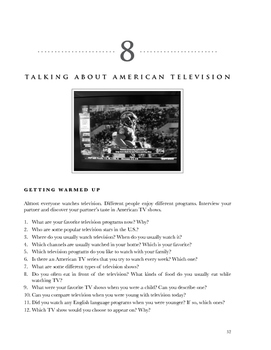 Compelling American Conversations Chapter 8: Talking About American TV