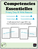 Competencies Essentielles en Français  Core Competency Draw and Write in FRENCH
