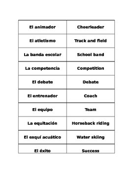 Competitions Vocabulary Matching/Flashcards