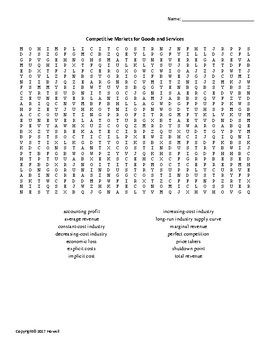 Competitive Markets for Goods and Services Vocabulary Word Search for Economics