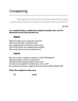 Complaining ESL conversation class
