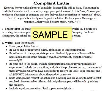 Complaint Letter Handout