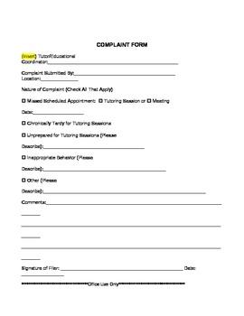 Complaint Procedures Form