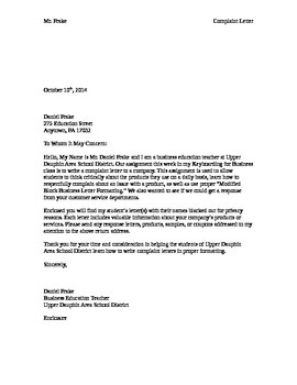 Complaint and Modified Block Letter