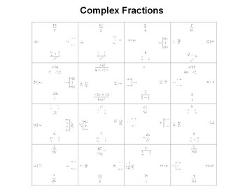 Complex Fractions Fun Square Puzzle