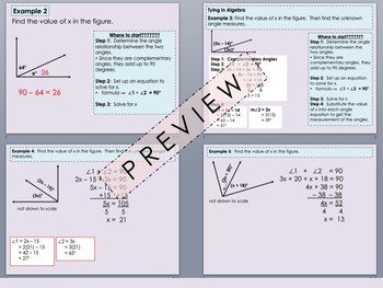 Complementary Angles Foldable PowerPoint for Interactive Notebooks