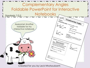 Complementary Angles Foldable PowerPoint for Interactive N