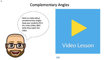 Complementary Angles - Google Form & Video Lesson with Notes!