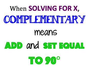 Complementary Angles Poster