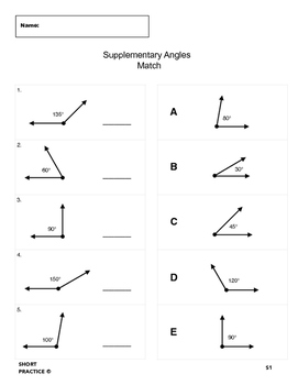 Complementary Angles & Supplementary Angles Match