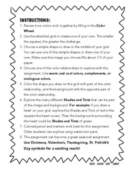Complementary Color Grid Activity! Fall Break Art Activity Pack