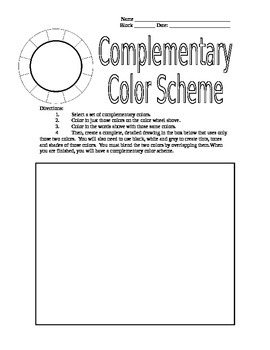 Complementary Color Scheme Worksheet for Colored Pencils for Art Teachers