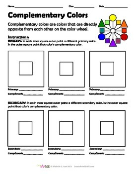 complementary color worksheet by create art with me michelle east. Black Bedroom Furniture Sets. Home Design Ideas