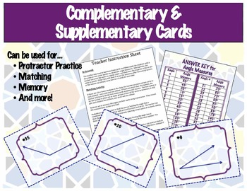 Complementary & Supplementary Angle Cards