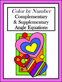 Complementary & Supplementary Angle Equations Color by Number
