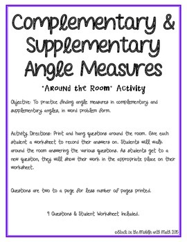 Complementary & Supplementary Angle Measure Word Problems
