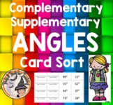 Complementary Supplementary Angles Card Sort Game Compliment Supplement