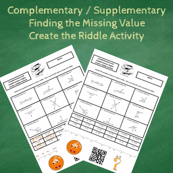 Complementary / Supplementary Angles Find Missing Values Create a Riddle