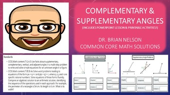 Complementary & Supplementary Angles (PowerPoint Lesson with Printables!)
