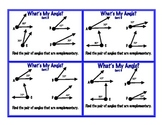 Complementary Supplementary Angles Task Cards Geometry