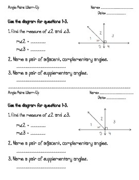 Complementary & Supplementary Angles Warm-up