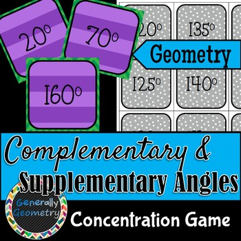 Complementary Supplementary Concentration Game; Geometry, Angle Pairs