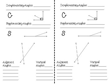 FREEBIE Complementary, Supplementary, Vertical, & Adjacent Angles Notes for INB