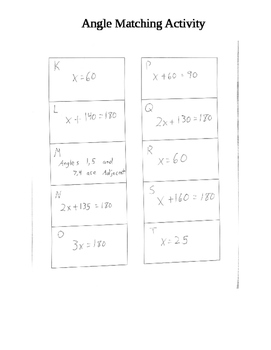 Complementary/Supplementary/Vertical Angle Match