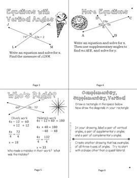 Complementary Supplementary Vertical Angle Relationships Notes Foldables