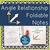 Complementary Supplementary Vertical Angle Relationships Folding Notes