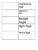 Complementary, Supplementary, Vertical Angles Foldable