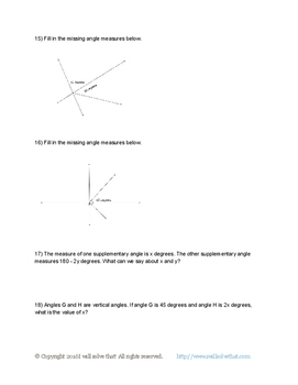 Complementary, Supplementary, Vertical, and Adjacent Angles Worksheet!