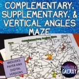 Complementary, Supplementary, & Vertical Angles Maze