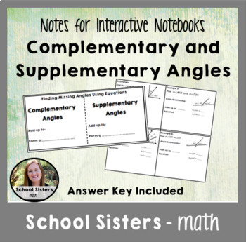 Complementary and Supplementary Angle Notes for Interactive Notebooks