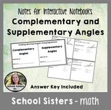 Complementary and Supplementary Angle Notes for Interactiv