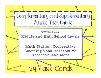 Complementary and Supplementary Angle Task Cards