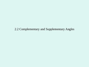 Complementary and Supplementary Angles