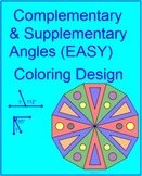 Complementary and Supplementary Angles B (EASY/HARD)  - 2 Coloring Activities