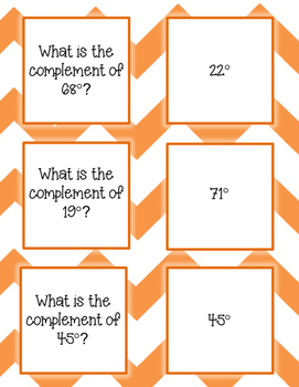 Complementary and Supplementary Angles Card Sort