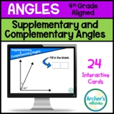 Find the Missing Angle Complementary and Supplementary Task Cards