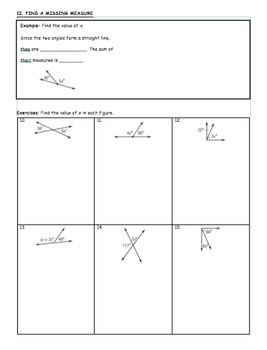Complementary and Supplementary Angles (Guided Notes) - 7th grade Math
